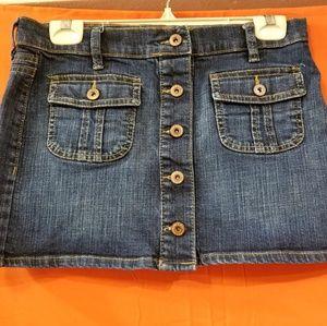 size 2 Full button ultra low waist denim skirt